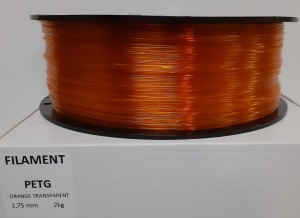 PET filament, 1,75 mm, orange transparent, spool 2 kg