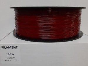 PET filament, 1,75 mm, maroon, spool 2 kg