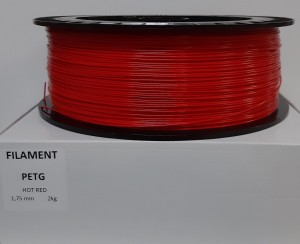 PET filament, 1,75 mm, hot red, spool 2 kg