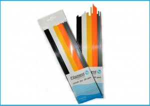 PLA sticks 2,85 mm, black, white, yellow, orange